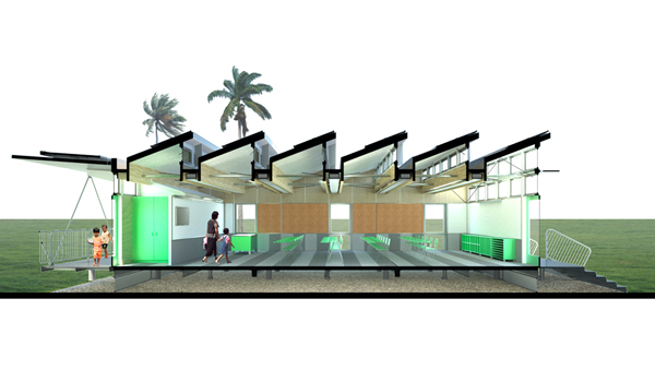zero net energy, zero energy, portable classroom, energy-neutral, Anderson Anderson Architecture, Holcim Foundation, Holcim Awards, award, Hawaii, economically disadvantaged, Peter Anderson, Mark Anderson, Autodesk, REVIT, BIM